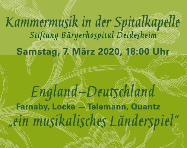 7. März 2020 Konzertreihe Spitalkapelle